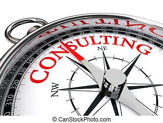 konsultera, ord, på, kompass, begreppsmässig avbild