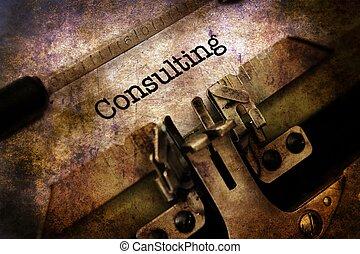 konsultera, text, på, årgång, skrivmaskin