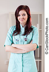 konsultering rum, kvindelig doktor