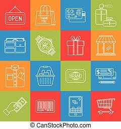 konsumentupplysning, brocket, inköp, struktur, flerfärgad, vektor, lineart, iconset, minimal