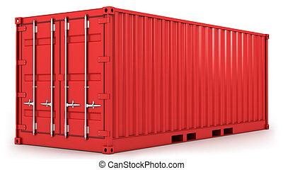 konténer, piros, rakomány, elszigetelt
