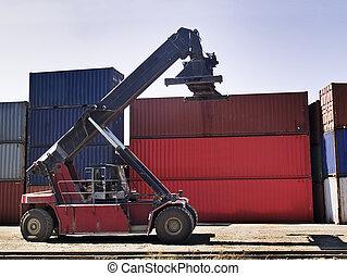 konténer, szállítás, gép