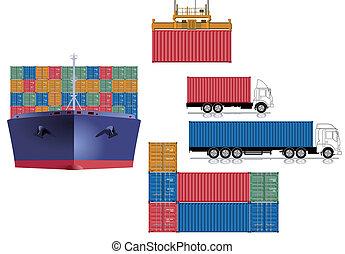 konténer, szállít, logisztika