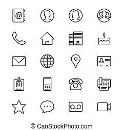 kontakt, cienki, ikony