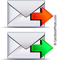 kontakt, e-mail, versenden, ikone