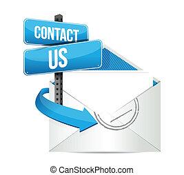 kontakt, email, na, znak
