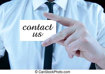 kontakt, -, geschäftskarte, uns