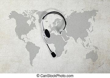 kontakt, global, begriff, draufsicht, kopfhörer, und, landkarte