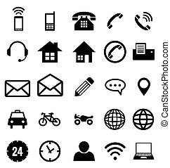 kontakt, ikon, samling, vektor, by, firma