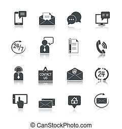 kontakt, komplet, na, służba, ikony