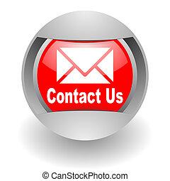kontakt na, stal, glosssy, ikona