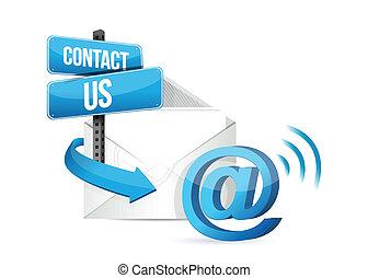 kontakt, online, email, na, znak
