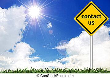 kontakt oss, på, gul väg, varning tecken