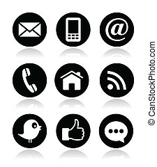 kontakt, web, blog, und, sozial, medien