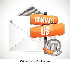 kontakt, znak, email, ilustracja, na
