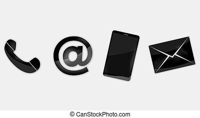 kontakta, design, oss, ikonen