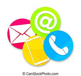 kontakta, design, runda, oss, ikonen