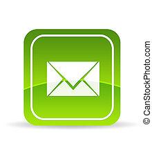 kontakta, grön, oss, ikon