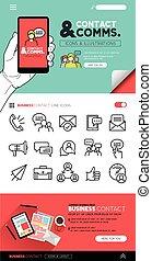 kontakta, och, kommunikation, begreppen, och, ikonen