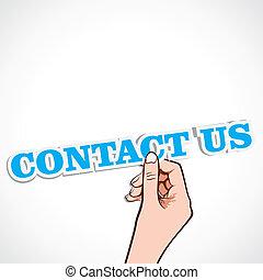 kontakta, ord, oss, hand