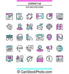 kontakta, sätta, oss, ikonen