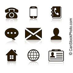 kontakta, sätta, reflexion, ikonen