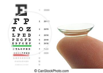kontaktlinse, und, sehen prüfung, tabelle
