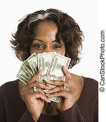 kontanter., kvinna räcka