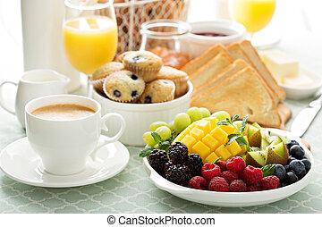 kontinentális, asztal, fényes, reggeli, friss