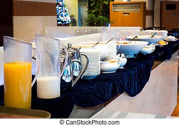 kontinentális, asztal, reggeli, felszerel