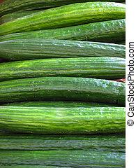 kontinentális, closeup, piac, uborkák