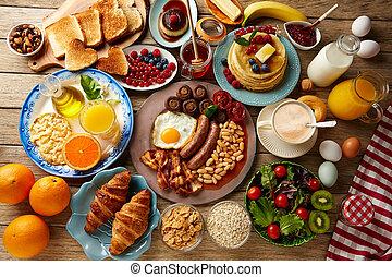 kontinentális reggeli, tele, büfé, angol