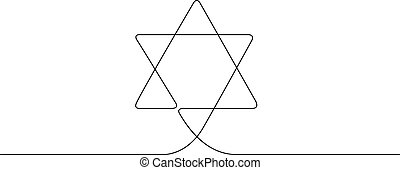 kontinuierlich, symbol, religion., eins, linie, gezeichnet