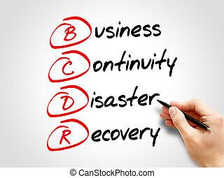 kontinuitet, katastrofe, firma, -, bcdr, recovery