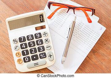 konto, brille, taschenrechner, oberseite, passboo, stift,...