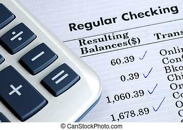 konto, gleichgewicht, bankscheck, aussage