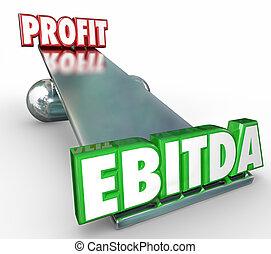 konto, väga, breven, profit, vs, ord, vägning balansera, ebitda, 3