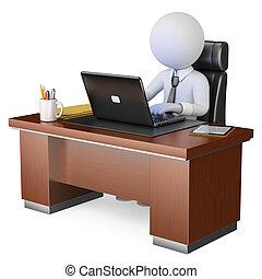kontor, 3, forretningsmand, hans, arbejder, hvid, folk., computer