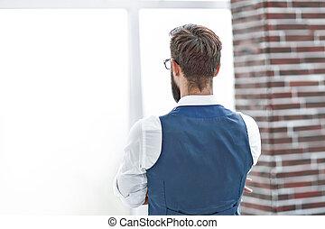 kontor, _ se igenom, fönster., affärsman, utsikt., baksida