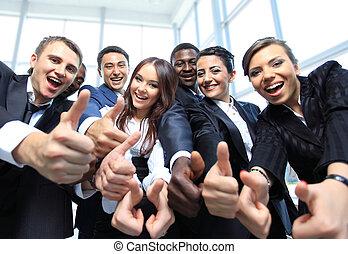 kontor, affär, uppe, multi-ethnic, tummar, lag, lycklig