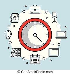 kontor, affärsverksamhet ikon, klocka, tid, runda, röd