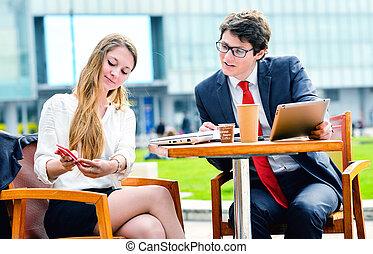kontor, arbete, deras, utanför, Dynamik,  Junior, ledare