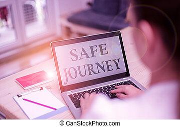 kontor, artig, resa, kvinna, väg, teknologisk, laptop, text, kassaskåp, eller, home., insida, enheter, begrepp, handstil, önska, dator, någon, resa, betydelse, journey., skaffar