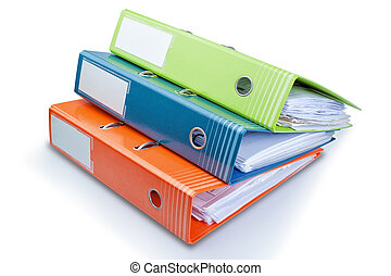 kontor, bakgrund., mapp, skrivpapper, bord, papers., vit