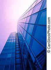 kontor, bygninger., moderne, glas bygge, exterior