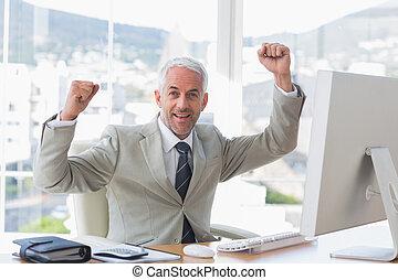 kontor, cheering, hans, forretningsmand