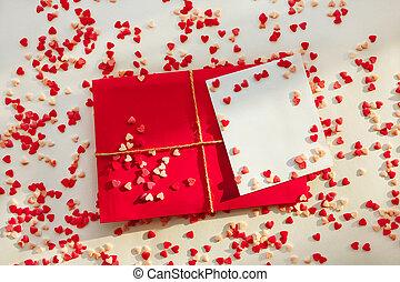 kontor, dag, kärlek, valentinbrev, post, concept., kort, ...