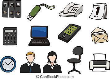kontor, doodle, ikon, sæt