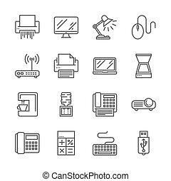 kontor, enheter, ikonen