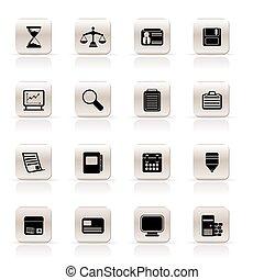 kontor, enkle ikoner, firma